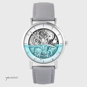 Yenoo watch - Steampunk water - gray, leather