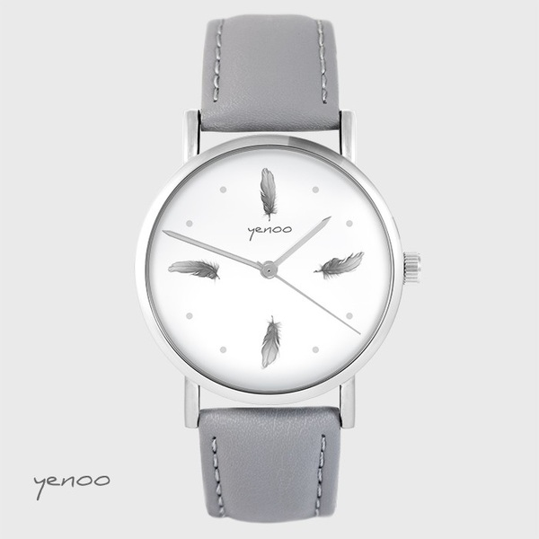 Yenoo watch - Gray feathers - gray, leather