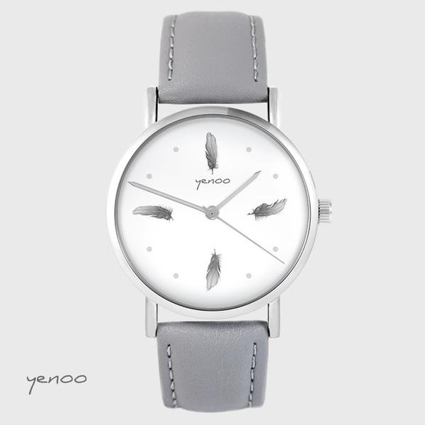Zegarek yenoo - Szare piórka - szary, skórzany