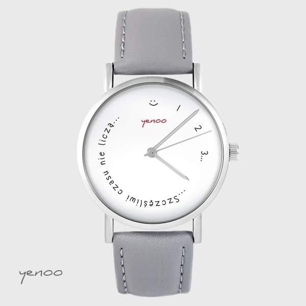Yenoo watch - Happy don't count time - gray, leather