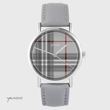 Yenoo watch - Tartan - gray, leather
