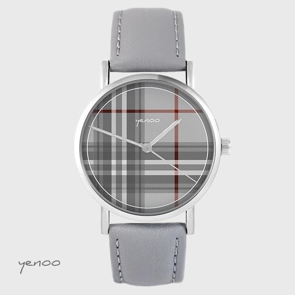 Zegarek yenoo - Szkocka krata - szary, skórzany