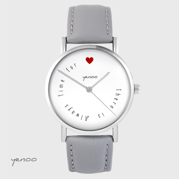 Zegarek yenoo - There is always time for love - szary, skórzany