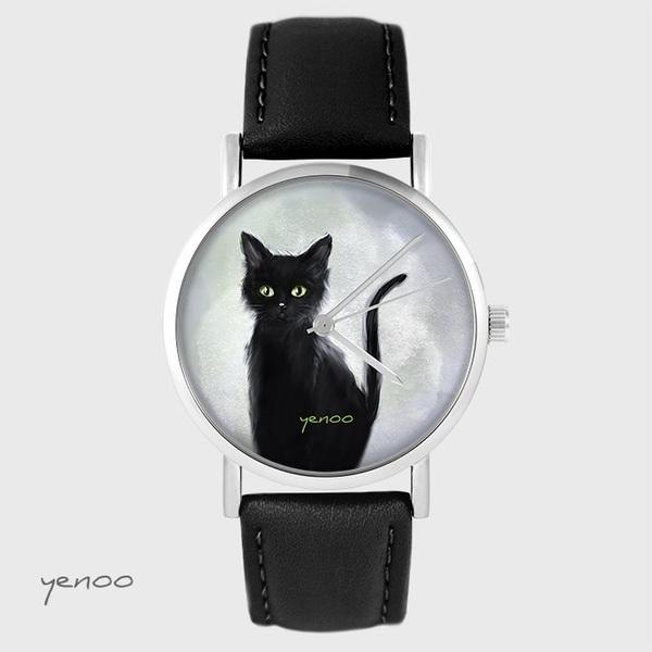 Zegarek yenoo - Czarny kot - czarny, skórzany