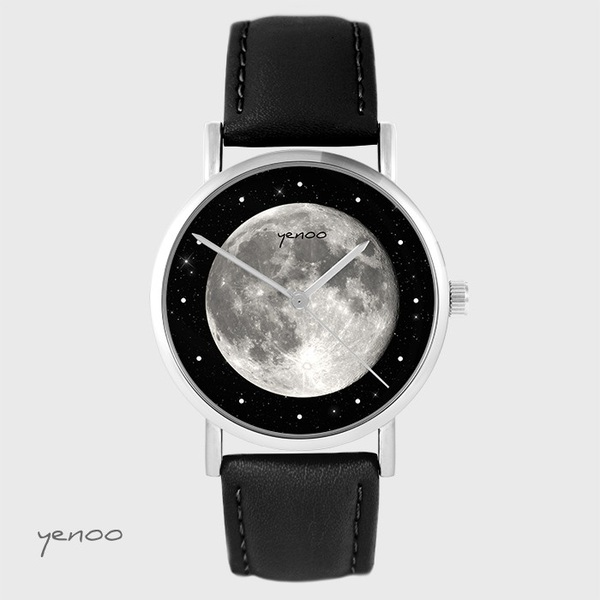 Zegarek yenoo - Księżyc - czarny, skórzany