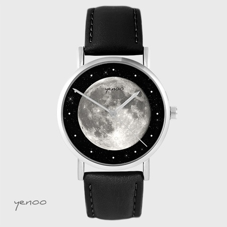 Yenoo watch - Moon - black, leather