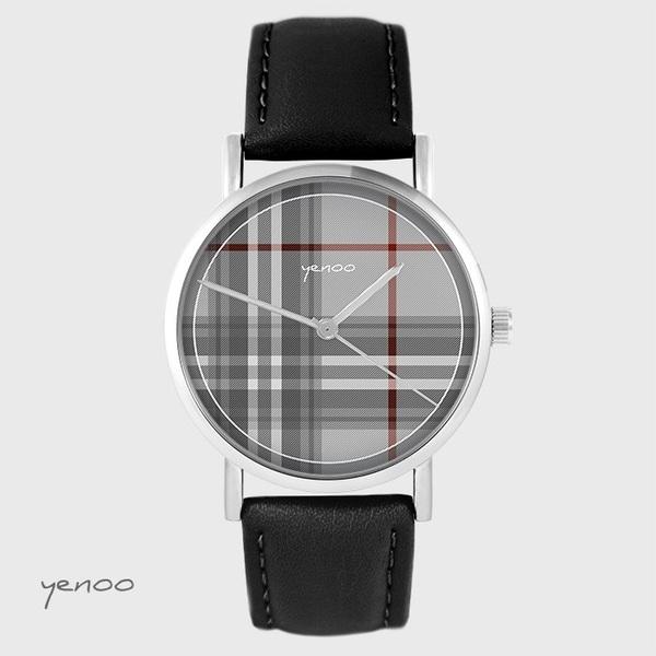 Yenoo watch - Scottish plaid - black, leather