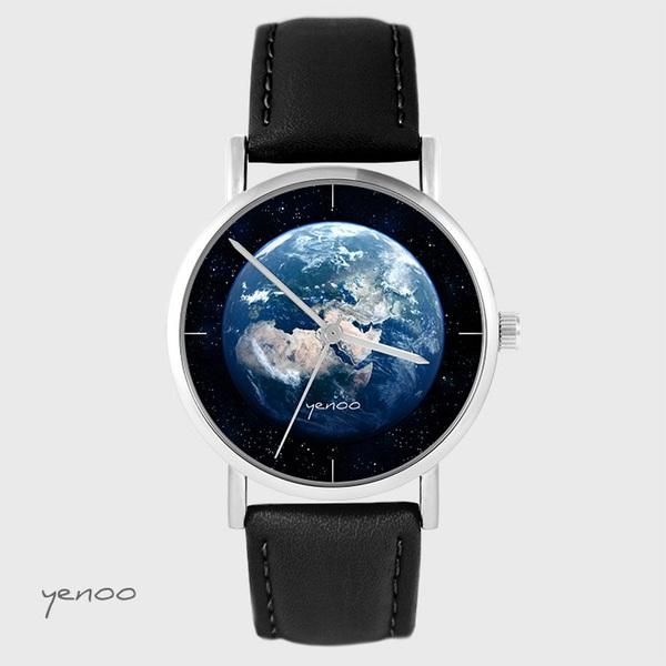 Yenoo watch - Earth - black, leather