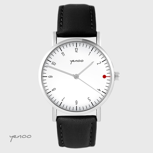 Yenoo watch - Simple elegance, white - black, leather