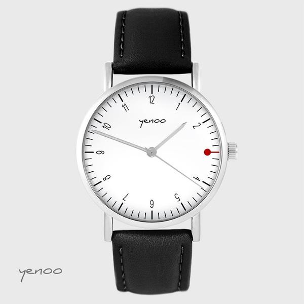 Zegarek yenoo - Simple elegance, biały - czarny, skórzany