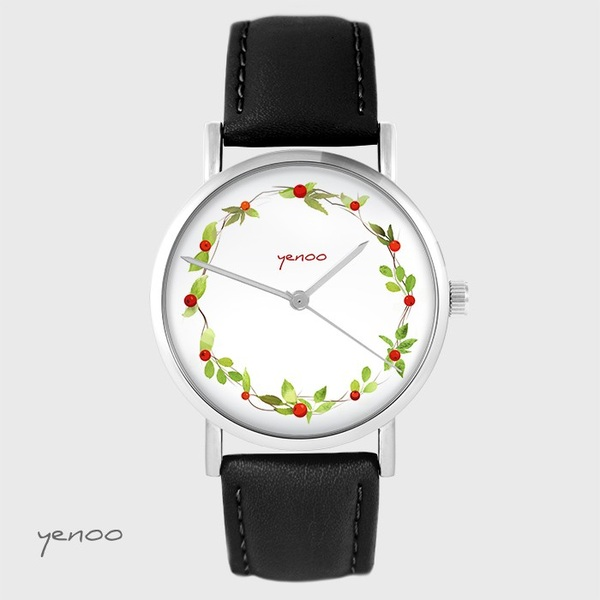 Yenoo watch - Wreath, wild rose - black, leather