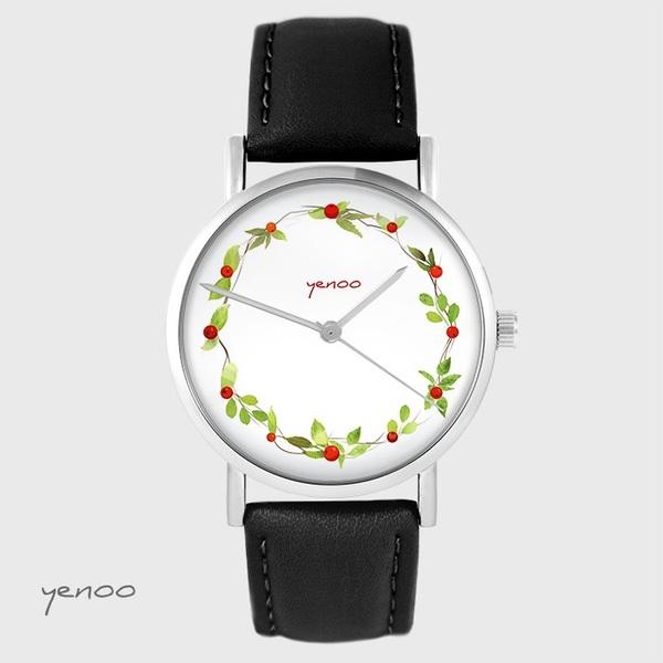 Zegarek yenoo - Wianek, dzika róża - czarny, skórzany