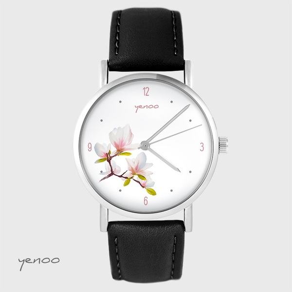 Yenoo watch - Magnolia - black, leather