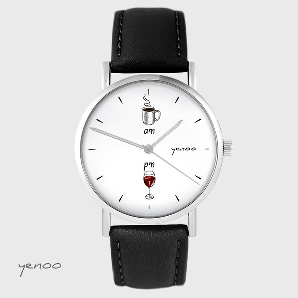 Yenoo watch - Coffee and wine - black, leather