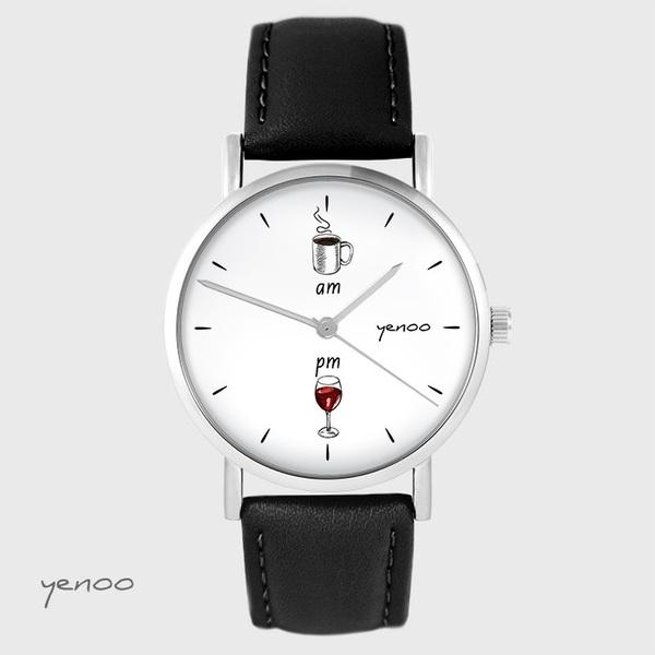 Zegarek yenoo - Kawa i wino - czarny, skórzany