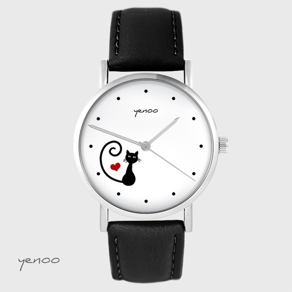 Yenoo watch - Kitty heart - black, leather