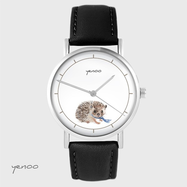 Yenoo watch - Hedgehog - black, leather