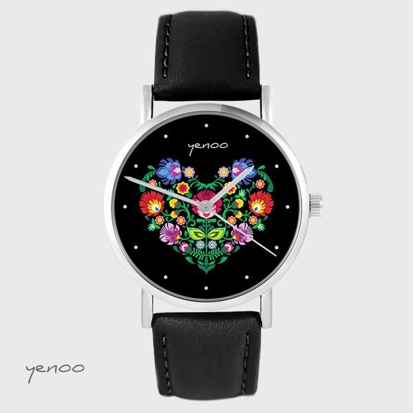 Zegarek yenoo - Folkowe serce, czarne - czarny, skórzany