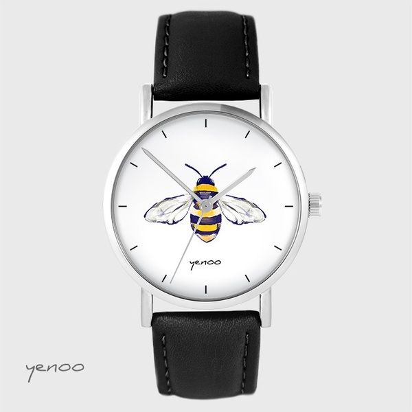 Yenoo watch - Bee - black, leather
