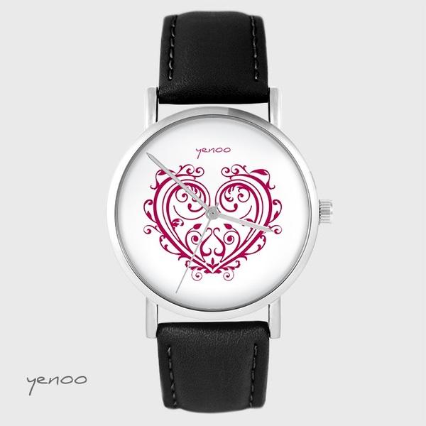 Zegarek yenoo - Serce ornamentowe - czarny, skórzany