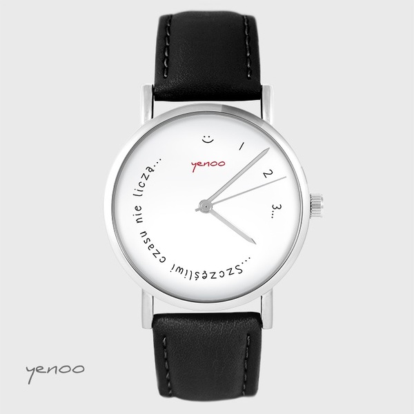 Yenoo watch - Happy do not count time - black, leather