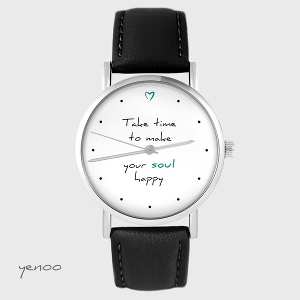Watch yenoo - Make your soul happy - black, leather