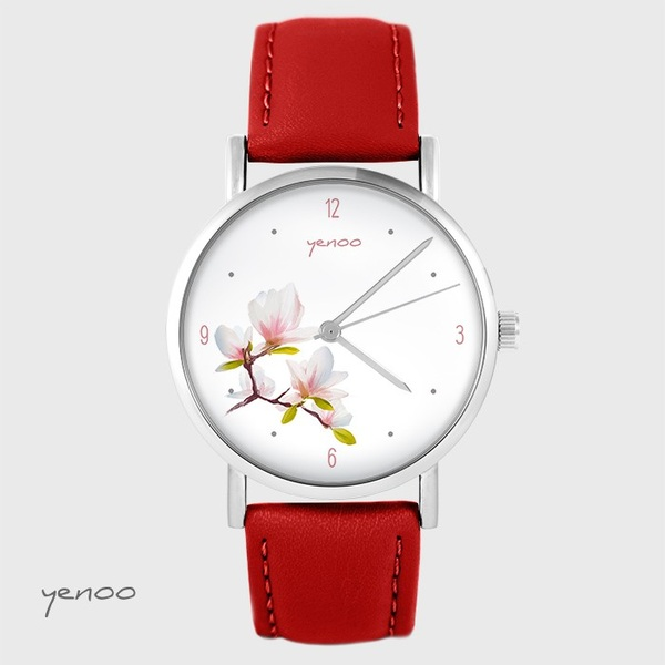 Yenoo watch - Magnolia - red, leather