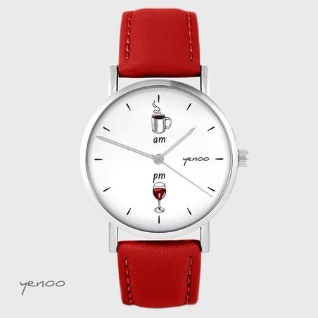 Zegarek yenoo - Kawa i wino - czerwony, skórzany