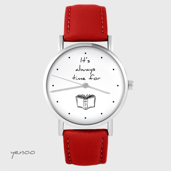 Yenoo watch - It is always time for a book - red, leather