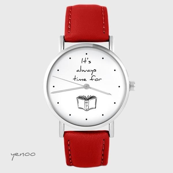 Zegarek yenoo - It is always time for a book - czerwony, skórzany