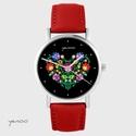 Zegarek yenoo - Folkowe serce, czarne - czerwony, skórzany