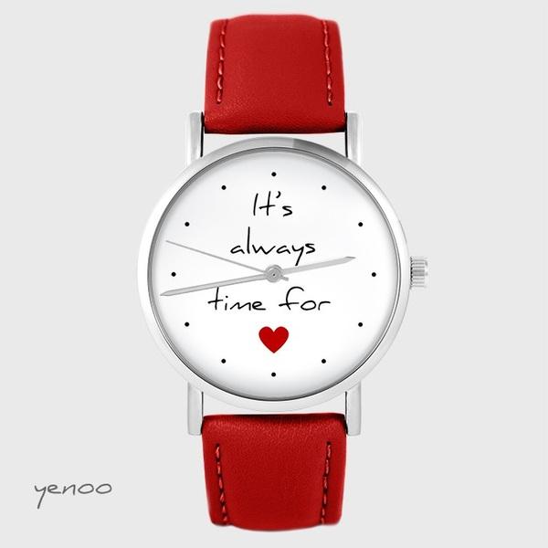 Zegarek yenoo - It is always time for love - czerwony, skórzany