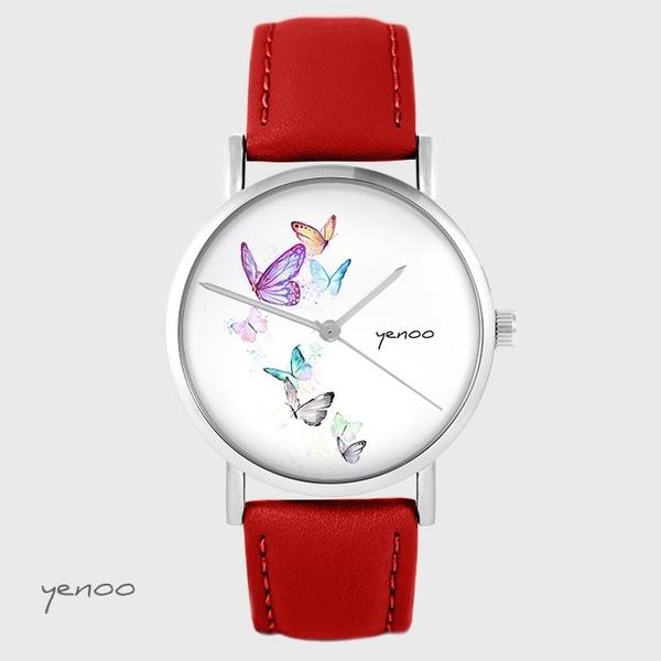 Zegarek yenoo - Motyle - czerwony, skórzany
