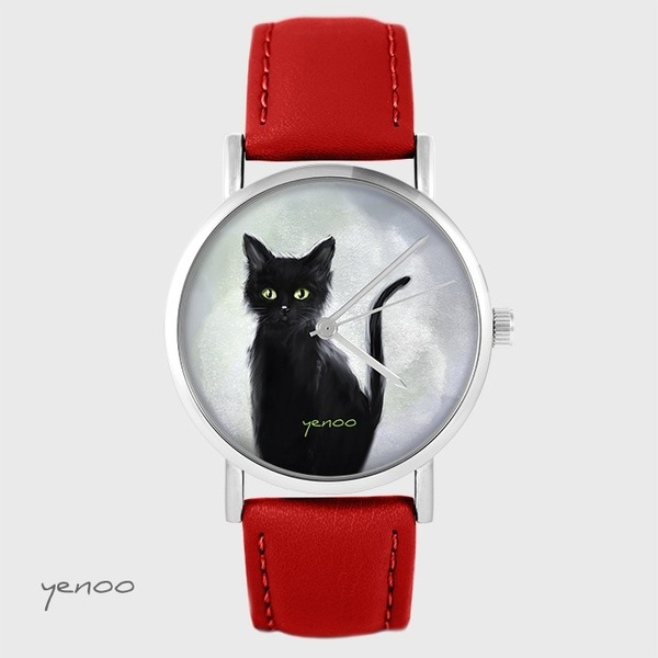 Yenoo watch - Black cat - red, leather