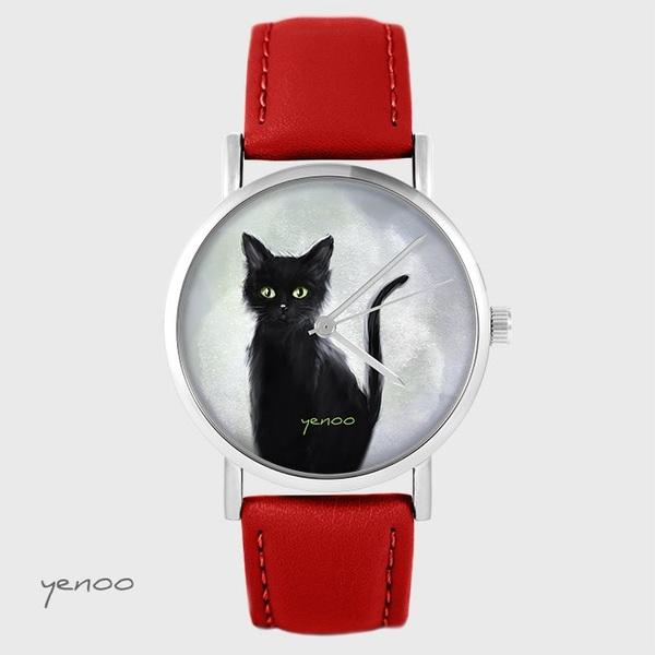 Zegarek yenoo - Czarny kot - czerwony, skórzany