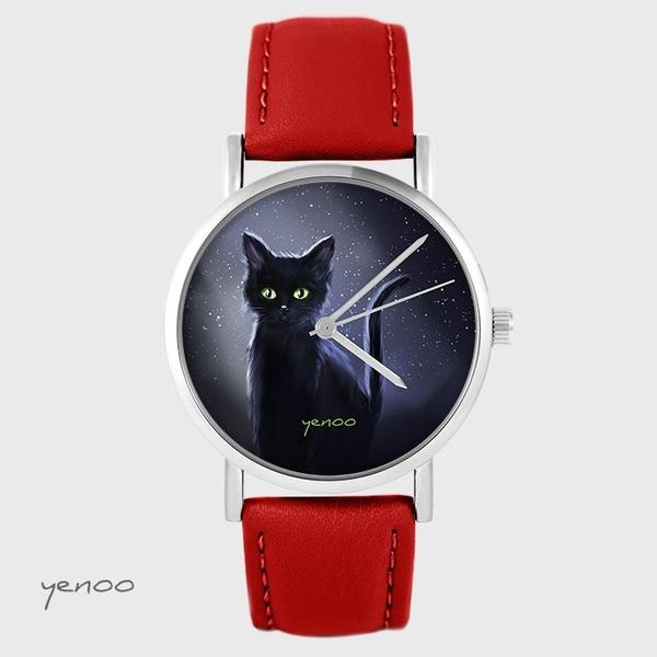 Yenoo watch - Black cat, night - red, leather