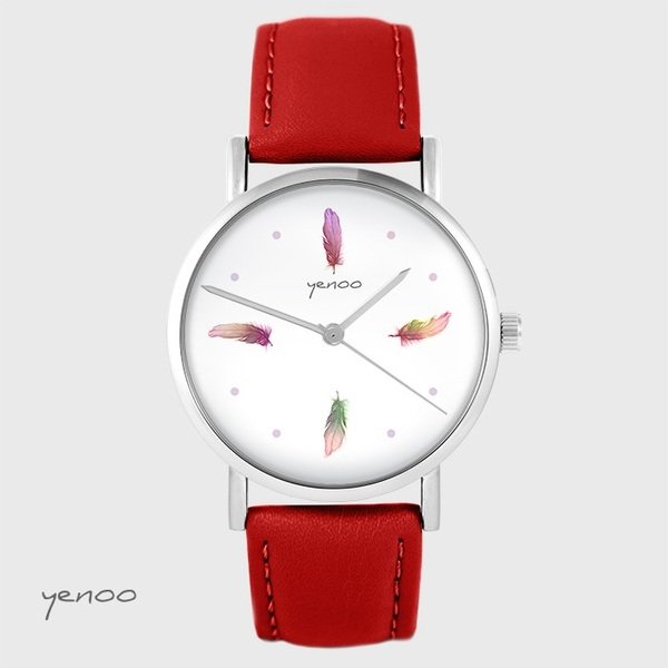 Yenoo watch - Colorful feathers - red, leather