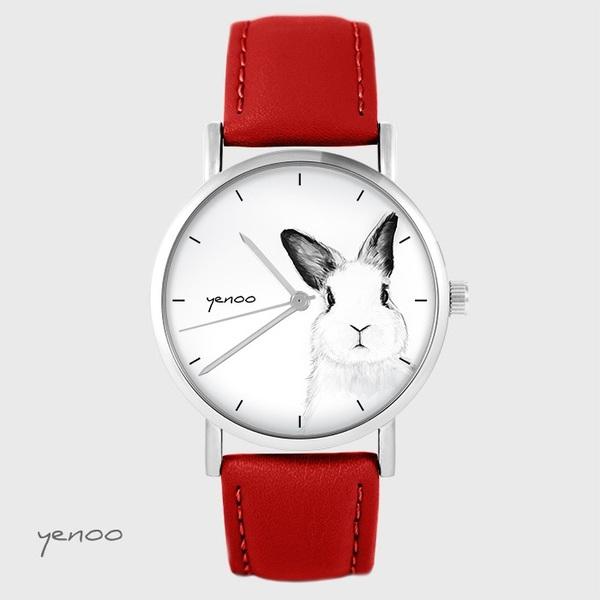Zegarek yenoo - Królik - czerwony, skórzany