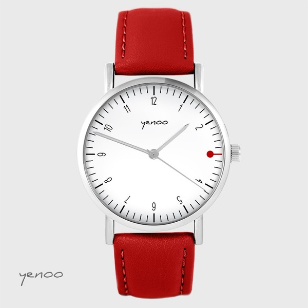 Yenoo watch - Simple elegance, white - red, leather