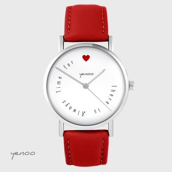 Watch yenoo - There is always time for love - red, leather