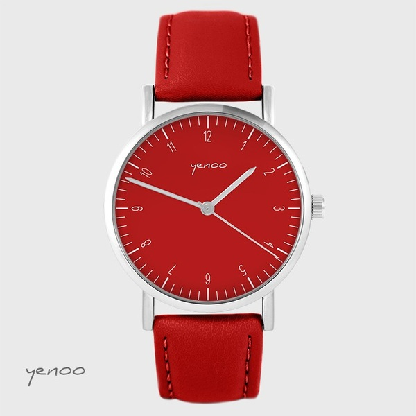 Yenoo - Simple elegance watch, red - red, leather