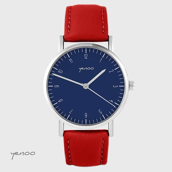 Yenoo - Simple elegance watch, navy blue - red, leather