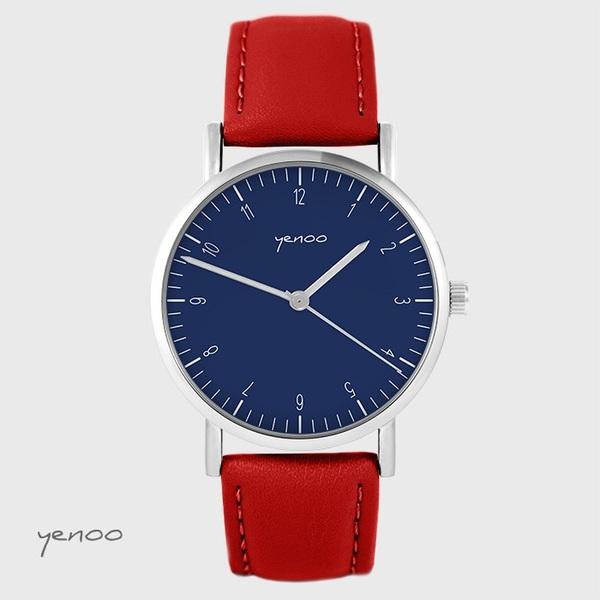 Zegarek yenoo - Simple elegance, granatowy - czerwony, skórzany