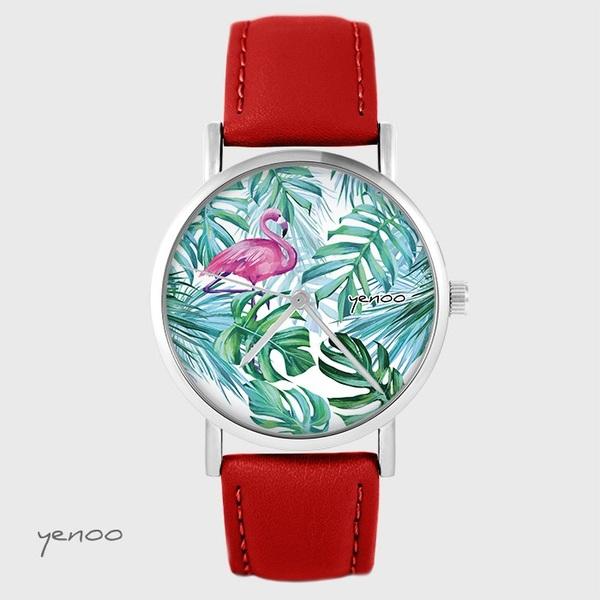 Zegarek yenoo - Flaming, tropikalny - czerwony, skórzany