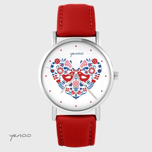 Yenoo watch - Folk birds - red, leather