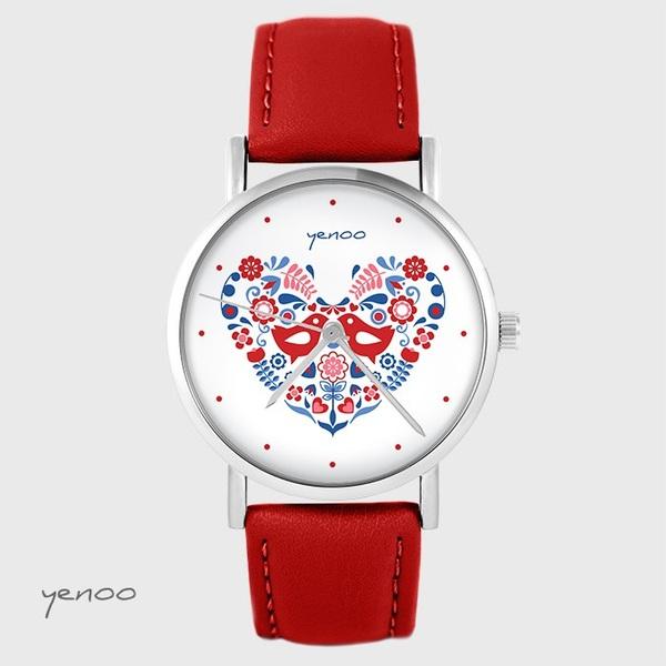 Zegarek yenoo - Ptaszki folkowe - czerwony, skórzany