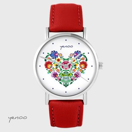 Zegarek yenoo - Folkowe serce - czerwony, skórzany