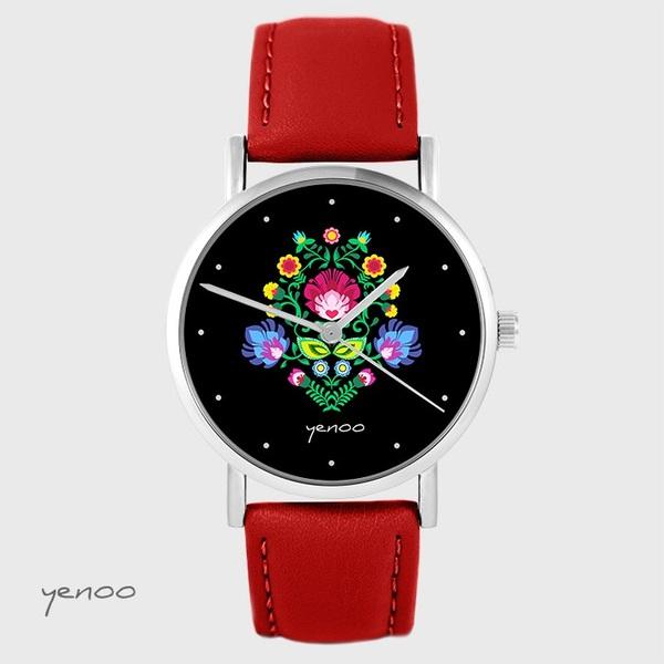 Zegarek yenoo - Folkowy, czarny - czerwony, skórzany