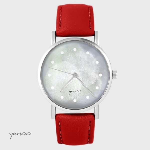 Yenoo watch - Gray - red, leather