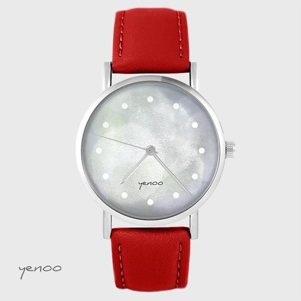 Zegarek yenoo - Szary - czerwony, skórzany